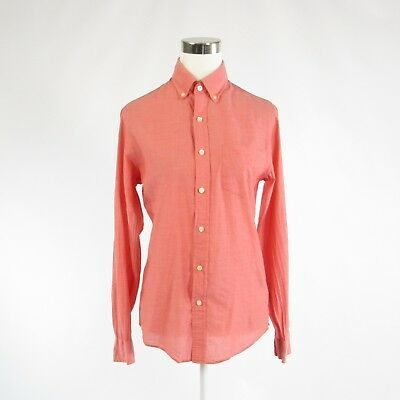 Primary image for Coral orange 100% cotton J. CREW long sleeve button down blouse XS