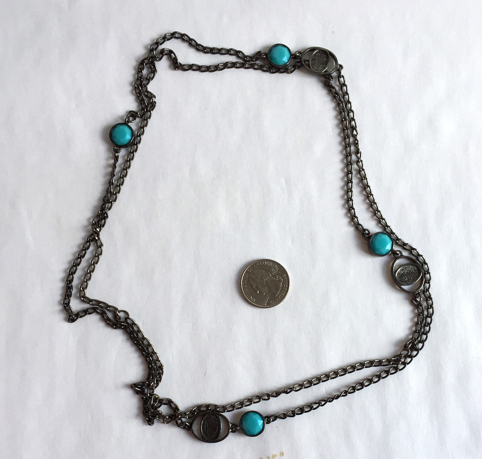Dark Metal Chain with Blue Acrylic Accents Long Necklace 52 inches