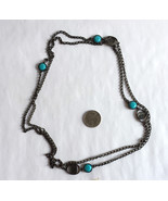 Dark Metal Chain with Blue Acrylic Accents Long Necklace 52 inches - $3.50