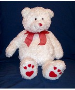 "Gund Teddy Bear ""Heads & Tales"" White Bear-Heart Paws & Red Bow-19in Tall - $14.99"