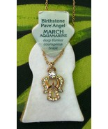 Birthstone Necklace Pare' Angel March Aquamarine - $12.99