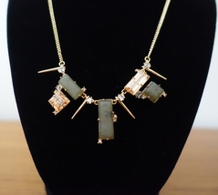 ALEXIS BITTAR GEOMETRIC PICKLE SQUARE CRYSTAL GOLD SPIKES ACCENTS NECKLA... - $49.99