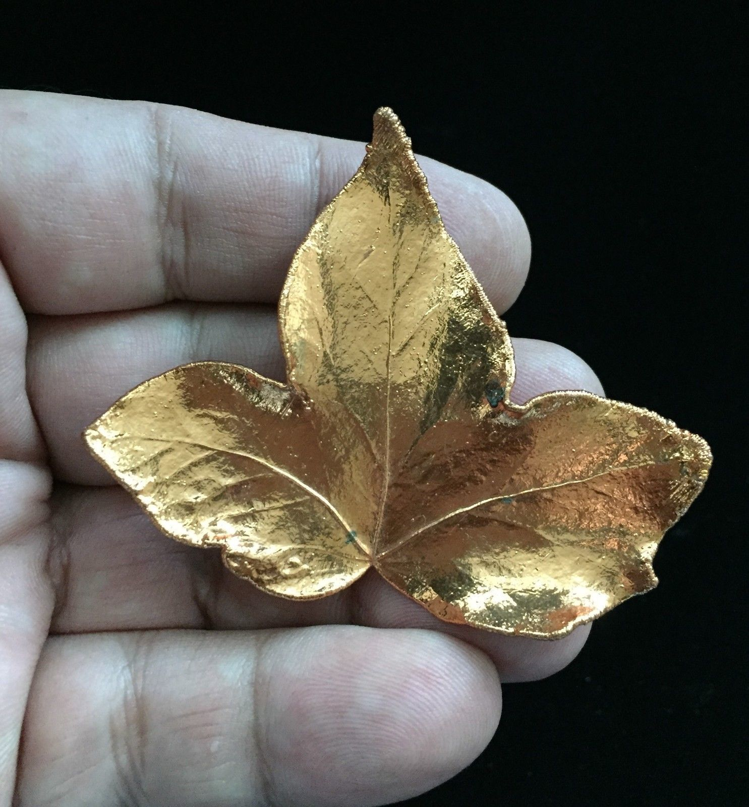 COPPER Leaf Vintage Brooch Pin - 2 1/2 inches - VERY UNIQUE