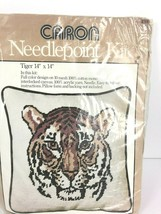 Caron Needlepoint 14 x14 Tiger Pillow RARE New Unopened 1977 Vintage - $29.69