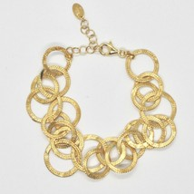 Silber Armband 925 Folie Gold Kreise Mattiert By Maria Ielpo Made in Italy - $221.29