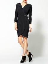 MICHAEL KORS Dk. NAVY V-Neck Faux Wrap 3/4 Sleeve Belted Dress (MEDIUM) ... - $45.82