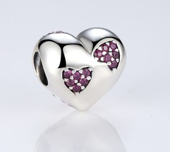 925 Sterling Silver Heart Love Charm Beads With Pink CZ Fit Pandora Brac... - $11.99