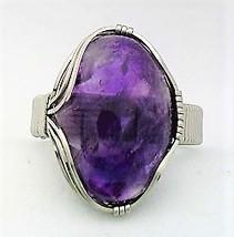 Purple Fluorite Stainless Steel Wire Wrap Gemstone Ring 4 - $10.30