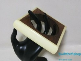 "Estate Vintage Wood Celluloid Bangle Bracelet 2.5"" Inner Diameter - $29.70"