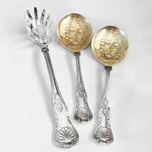 3pc KINGS pattern - WA Sheffield Gold Wash Berry Spoons & FB Rogers Past... - $49.99