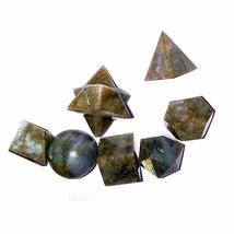 Labradolite 7 Piece Platonic Solid Chakra Reiki Healing Crystal Sacred G... - $26.99