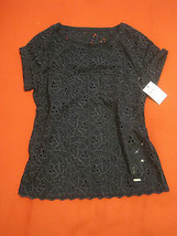 Abercrombie Kids Girl Blouse Top Sz M 12 Navy Eyelet Knit Back Short Sle... - $29.69