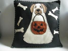 Halloween  Black Felt Pillow  Appliqued Ghosty  Dog Bones JOL - $30.68