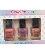 iGlow Nail Polish 3 piece set, Pinked Mauve / Toasted Mauve / Nude, gift... - $8.99