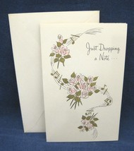 Vintage Greeting Note Card Notecard Just Dropping a Note Pink Roses w En... - $2.97
