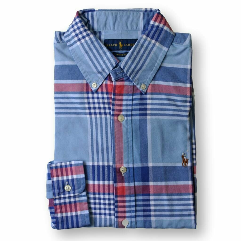 Ralph Lauren Mens Red Blue Plaid Classic Fit Cotton Oxford Shirt Large L 3375-7