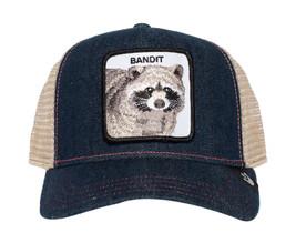 Goorin Bros Animal Farm Snapback Mesh Cap Navy Denim Racoon Bandit Trucker Hat image 2