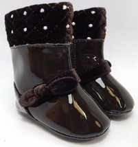 NWT BABY DEER Patent Leather Infant Toddler Girl Boots Shoes Size 1 0-12 Months