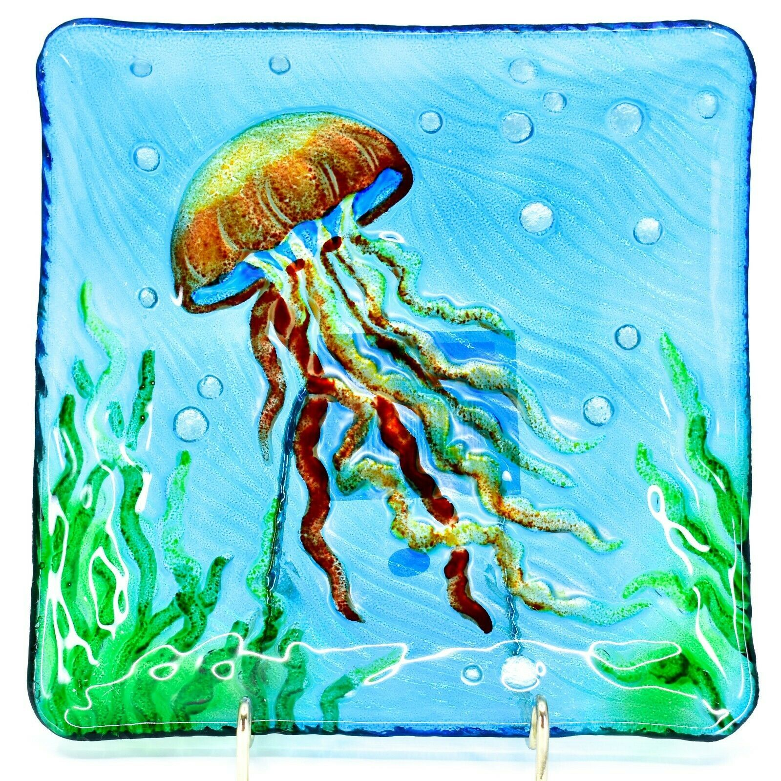 "Jaco Handcrafted Ocean Jellyfish Fused Glass 8.25"" Square Decorative Plate"
