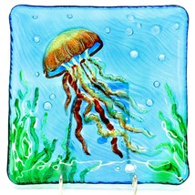 "Jaco Handcrafted Ocean Jellyfish Fused Glass 8.25"" Square Decorative Plate image 1"