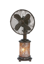 DecoBreeze Mosiac Glass Honey Amber Table Fan with Light - DBF6135 - $157.00