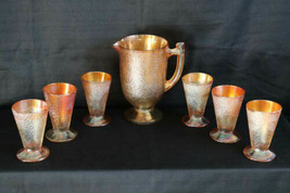 Vtg Jeannette Crackle Marigold Carnival Glass 7 Piece Drinks Juice Tumbl... - $49.45