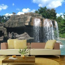 3D Rock Waterfall 1 Wall Paper Wall Print Decal Wall Deco Indoor wall Mu... - $32.15+