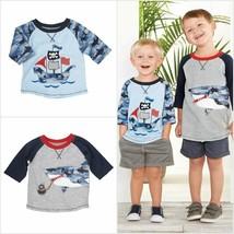 NWT Mud Pie Pirate Ship Shark Zipper Mouth Boys Blue Raglan Shirt 2T/3T 4T/5T - $16.99