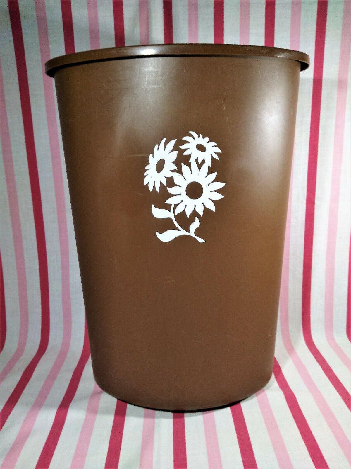 Primary image for 1960's MOD Festival Brand Brown & White Flower Power Plastic Kitchen Trash Can