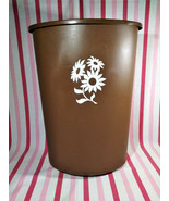 1960's MOD Festival Brand Brown & White Flower Power Plastic Kitchen Tra... - $44.00