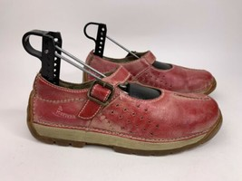 Dr Martens Mary Jane Buckle Shoes Red Burnished 3a52 Distressed US size 5 EUR 37 - $49.47