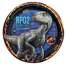 Jurassic World Velociraptor Dessert Plates 8 Per Package Birthday Party Supplies - $3.71
