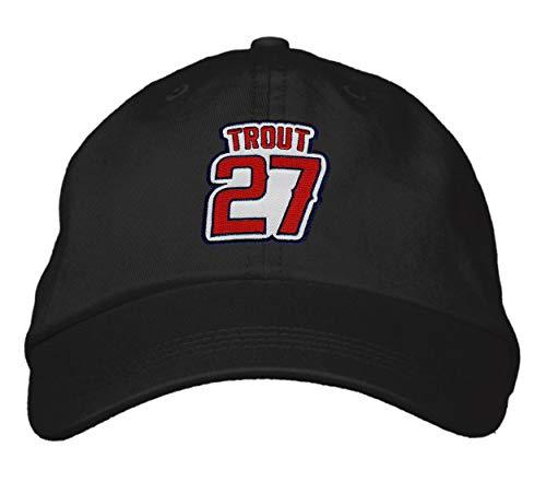 Mike Trout Hat - Los Angeles Baseball Black Adjustable Dad Cap Style