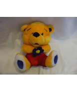 11 Inches Yellow Teddy Bear Red Pants & Blue Flower - $28.69