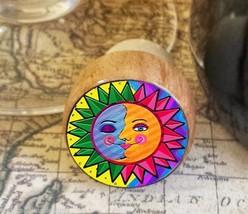 Sun and Moon Wine Stopper, Handmade Whimsical Wood Cork, Bottle Stopper - $8.86