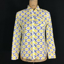Talbots Top 2 P XS White Blue Yellow Geo 1 Pocket Long Sl Shirt Lightwei... - $14.95