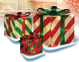 3-Piece Glistening Striped Gift Box Lighted Christmas Outdoor Decoration - €38,48 EUR