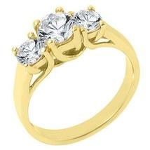 1.51 CARAT WOMENS 3-STONE PAST PRESENT FUTURE DIAMOND RING ROUND CUT YEL... - £3,254.09 GBP