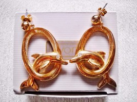 AVON GOLD TONE DOLPHIN IN A HOOP DROP DANGLE POST EARRINGS W/ BOX - $10.00