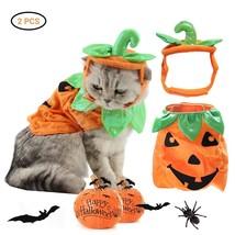 Halloween Pet Cats Costume Props Creative Pumpkin Shape Green Leaf Decor... - $50.10