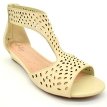 Clarks Womans Abigail Ruby Perforated Wedge Sandals Ivory Back Zip 6.5W NEW - $49.49