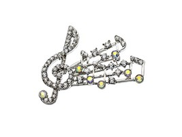 Silvertone Crystal Pave Treble Clef Pin Brooch - $13.95