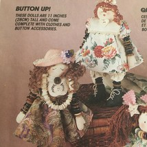 McCalls Crafts Sewing Pattern 6725 Button Dolls with Clothes & Christmas Elf UC - $4.00