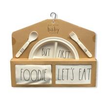 Rae Dunn Baby 5 Piece Gift Set: Plate Bib Bodysuit Utensils (0-3 Months)... - $39.99