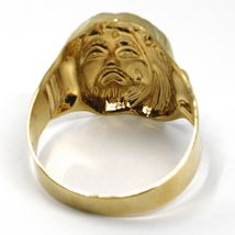 18K YELLOW GOLD BAND MAN RING, BIG JESUS FACE, MADE IN ITALY image 4