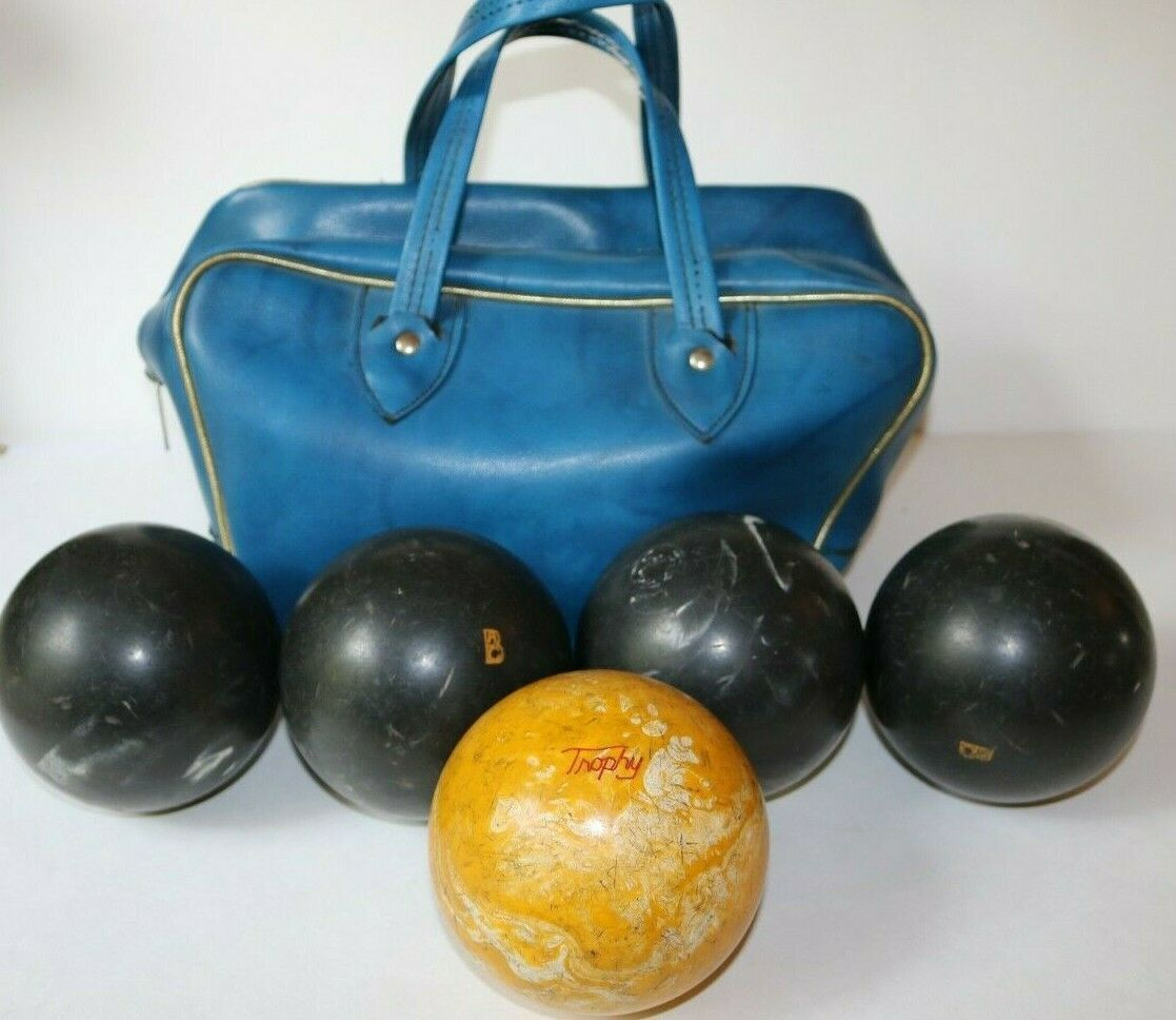 Primary image for Vintage 5 Duckpin Bowling Balls with blue carrying case candlepin