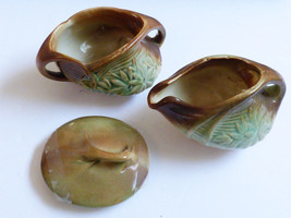 VTG Lot McCoy Pottery Creamer & Open Sugar Bowl Green Brown Daisy Patter... - $33.26