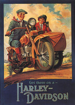 American Motorcycle Bike Get There On A Harley Davidson Vintage Poster Repro - $10.96+