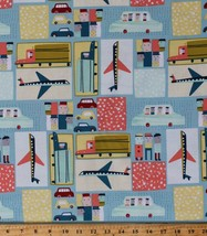 Cotton Airplane Planes Cars Trucks Travel Kids Fabric by the Yard D676.25 - $11.95