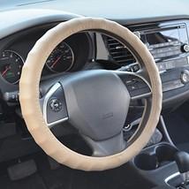 "BDK Genuine Leather Car Steering Wheel Cover 15.5""-16.5"" Large/Tan Beige - Unive"